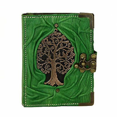 Tree of Life Squirrel on a Green Refillable Leather Journal / Notebook /Handmade