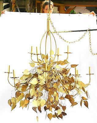 HUGE Gold Chandelier, Hanging ceiling Light, Brass Lighting, Antique Gilded rare