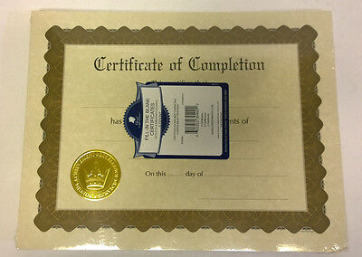 """Great Papers Certificate of Completion Pre-Printed, Gold Foil, Embossed, 8.5"""""""