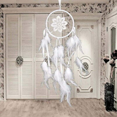 White Handmade Dream Catcher with Feathers Beads Wall Hanging Decoration Craft