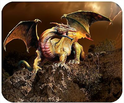 Mouse Pad Custom Personalized Thick Mousepad-Dragon On Cliff-Any Text