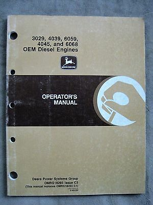 john deere 4039 6059 4045 6068 engine operators manual omrg18293 rh picclick com Parts Manual Customer Service Books