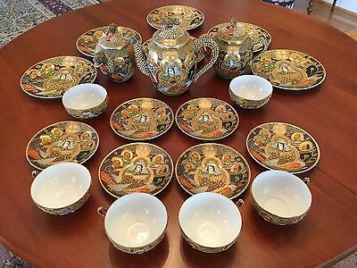 Japanese Satsuma Moriage Dragon Ware Gilded Immortals Tea Set 21 Pieces