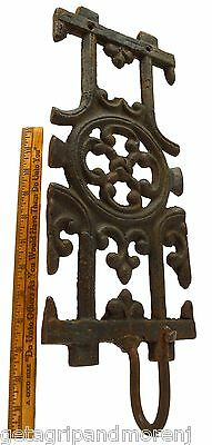 "Antique CAST IRON GRATE w/ HOOK 7""x19"" Interior/Exterior FLOWERS-COATS-HAT Rack?"