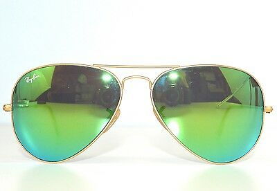 5e955870d40f 100% Authentic Ray Ban Aviator Sunglasses Green Mirror Flash Lens 3025 112  19
