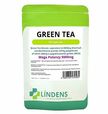 Green Tea 9000mg (203mg EGCG) Capsules 60 pack Lindens Health Diet Weight Loss
