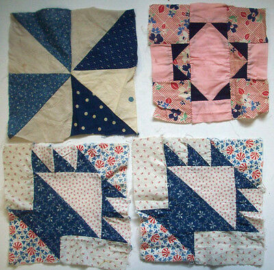 4 vintage blues reds quilt blocks 4/5 hand sewn baskets