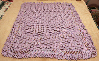 "Marvelous Mauve Crocheted Baby Blanket 32""X 43"""