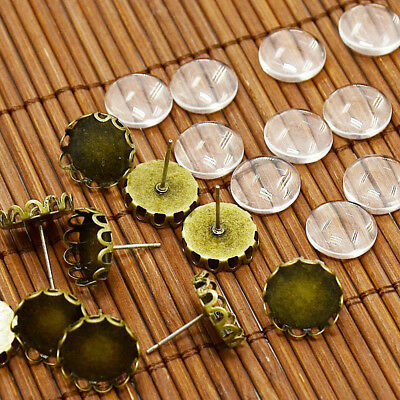 10 Sets Antique Bronze Brass Cup Earring Posts Flower Bezel & 12mm Glass Covers