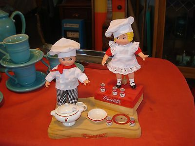 Campbells Kids Dolls & Dishes on Wooden Display Stand w/ Music Box