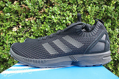huge selection of 194e1 330c6 ADIDAS ZX FLUX Primeknit Sz 8 Core Triple Black S75976