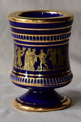 Antique Ceramic Vase Dark Blue / Black with 24K Gold Hand painted pottery
