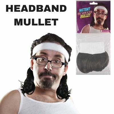 INSTANT HEADBAND MULLET Wig Funny Party Hair Accessory Gag 80s Costume New