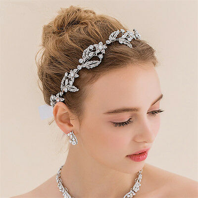 Vintage Wedding Bridal Crystal Silver Hair Accessories Headband Crown Tiara Band
