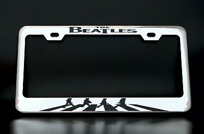 the beatles license plate frame custom made of chrome plated metal