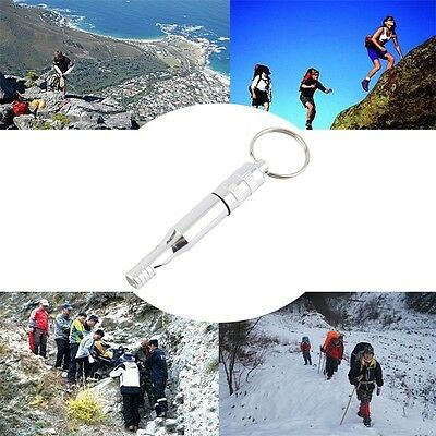 Aluminum Alloy Emergency Survival Whistle Outdoor Hiking Keychain Multicolor AU