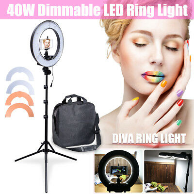 """AU Studio 13.5"""" 34cm 40W Dimmable LED Ring Light +6' Stand +Camera Phone Holder"""