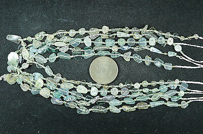 Ancient Roman Glass Beads 1 Medium Strand Green 100- 200 Bc Rm18
