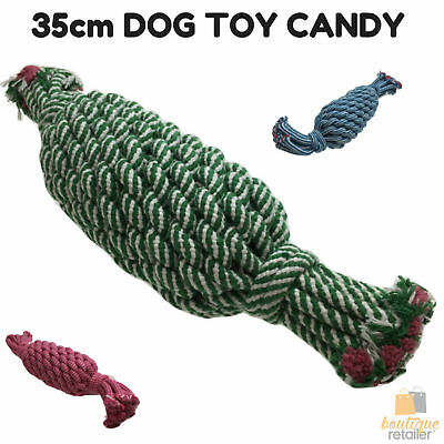 35cm LARGE DOG ROPE TOY CANDY Eco Friendly Pet Chew Cotton Knot Heavy Duty New