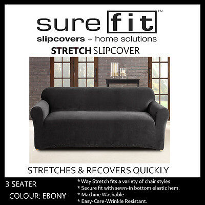 3 Seater Surefit Stretch Pearson   Couch Lounge Sofa Cover   Slipcover   Ebony