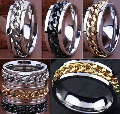 30pcs High Quality Comfort Fit Men's SPIN Chain Stainless steel Rings Job Lots