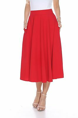 Solid Color Midi Length Fit and Flare Skirt with pockets