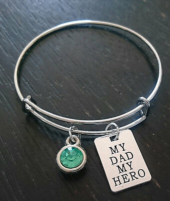 PERSONALIZED My Dad my Hero Bangle Bracelet - choose a Birthstone