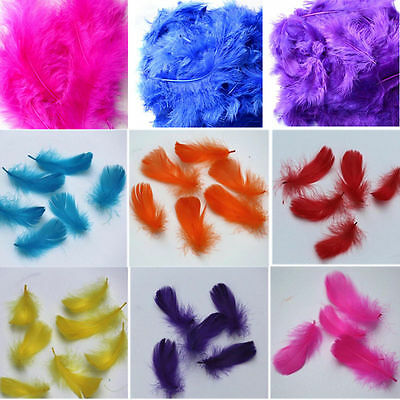 100 Pcs FLUFFY CARD MAKING COLOUR  FEATHERS MARABOU EMBELLISHMENTS IN NEW HOT