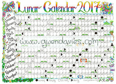 2017 Large Wall Planner including Lunar cycle luna luner moon Gwen Davies