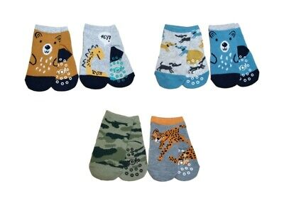 New Baby Boy ABS Antislip Non Slip Cotton Socks 2 Pairs Size 3 months to 3 years