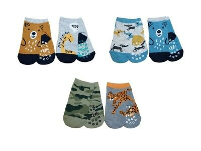 New Baby Boys ABS Anti Non Slip Cotton Socks 2 Pairs Size 3 months to 3 years