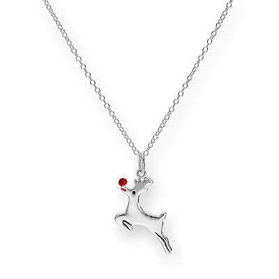 """925 Real Sterling Silver 18 """" Inch Rudolph Reindeer Necklace on Belcher Chain"""
