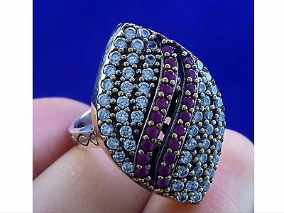 Turkish Ottoman Handmade Ruby 925 Sterling Silver Ring Size 8 R-1583 + Free Gift