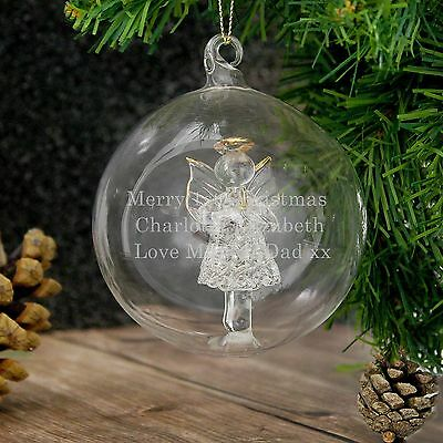 Personalised Engraved Glass Angel Bauble - Christmas, Remembrance, Seconds Stock