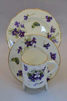 Vintage Hammersley Victorian Violets Coffee Trio: Cup, Saucer and Plate