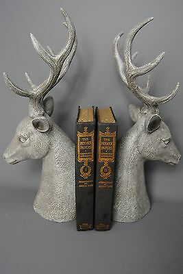 Book ends Vintage style French Grey Deer Stag Head Bookends Antlers
