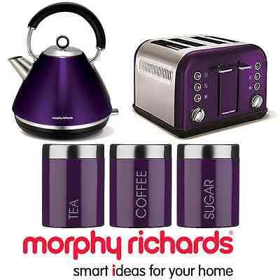 Morphy Richards Accents Purple Plum 1.5L Kettle 4 Slot Toaster & 3 Canisters NEW