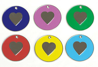 Cat Heart ID Tag Coloured 20mm, with Spilt Ring FREE ENGRAVING
