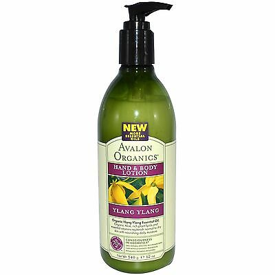 Avalon Organic Hand Body Lotion Ylang Ylang Skin Aromatherapy Essential Oil 340g