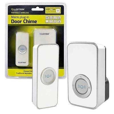 Lloytron Plug In Wireless Portable Musical Door Chime - 32 Melodies - White