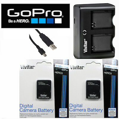 2X Battery for GoPro HERO3 SILVER AHDBT-302 AHDBT-301 + USB DUAL CHARGER + GIFT