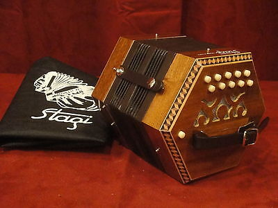 NEW Stagi C-1 Mahogony Anglo Concertina M 20, B-C, Made in Italy, Carrying Sack