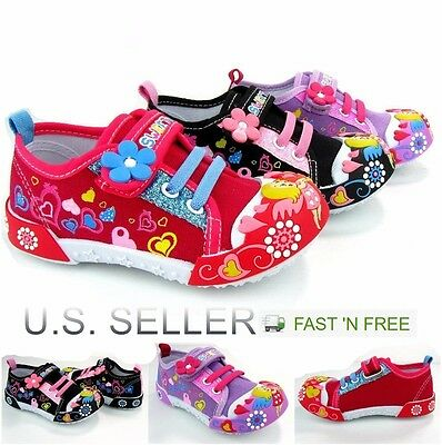Girls Boys Infant Toddler Little Kid Baby Flower Canvas Soft Sole Design Strap