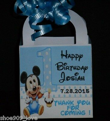 Baby Mickey Mouse First Birthday 12 Favor Boxes Birthday Party  Ribbon Included
