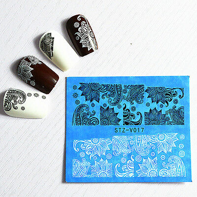 48 Sheets 3D Flower Lace Nail Art Water Transfer Decals Stickers Tips Decoration