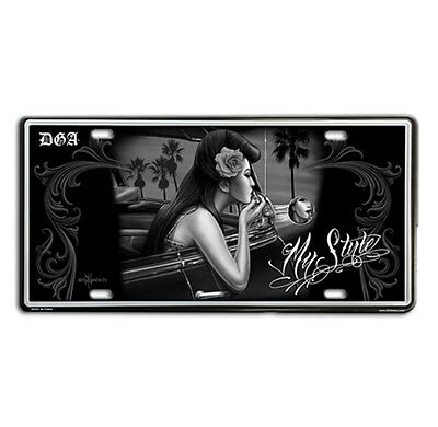 DGA MY STYLE Lowrider Vintage Auto License Tin Plate ROCKABILLY  PIN UP GIRLS
