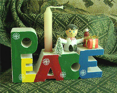 """PEACE"" Wooden Christmas Candle Holder"