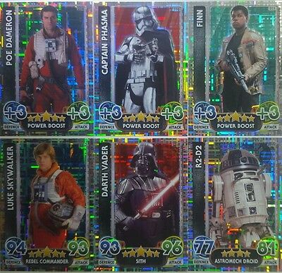Star Wars FORCE ATTAX HOLOGRAPHIC FOIL Card Set of 16 Topps  FORCE AWAKENS  2015