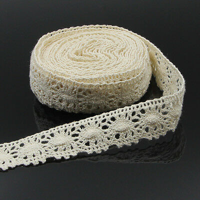 Beige Cotton Vintage Embroidered Lace Edge Trims Ribbon Bridal Sewing Craft 5m