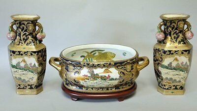 """Three-Piece Set of Chinese Porcelain Foot Bath & Two 14"""" Vases"""